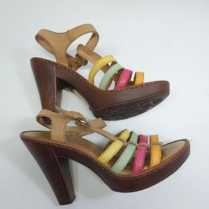 Born Women's Multi Color Strappy Heel Sandal Size7